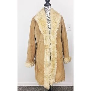 Light Brown Leather Shearling Long Coat 70s